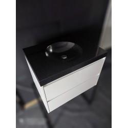Szafka biały lakier + umywalka kompozytowa czarna nakrapiana 75cm