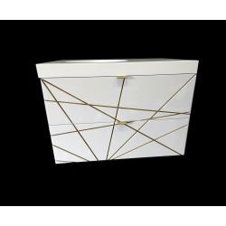 Biało-złota szafka łazienkowa lakierowana z umywalką kompozytową. Modny, geometryczny wzór.
