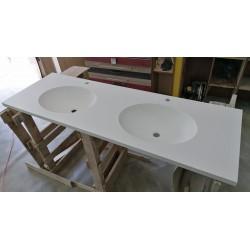 Blat z dwiema umywalkami 160cm, podwójna umywalka