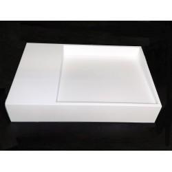 Umywalka z odpływem liniowym 60x38x12cm biała