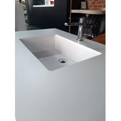 Umywalka kompozytowa 120cm ze zintegrowanym blatem biała
